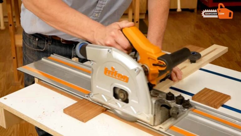 Woodworker Working with Triton Track Saw - Triton Track Saw Review